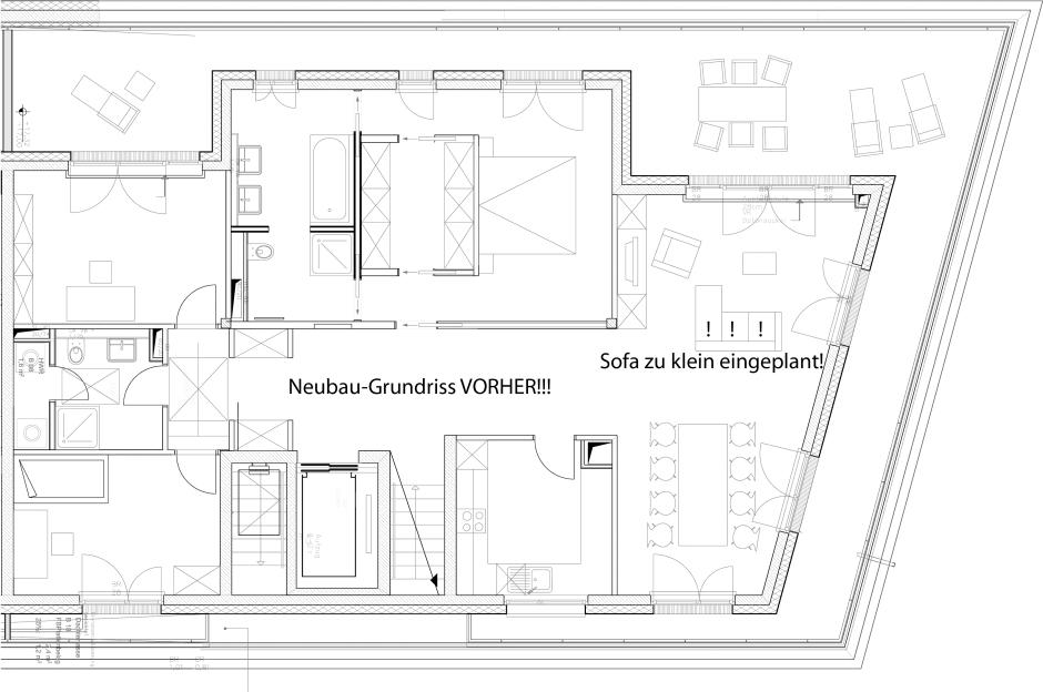 lieblose Planung mit zu klein gezeichneten Möbeln